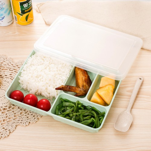Wheat Straw Divided Easy Lunch Bento Box Dinnerware Eco Outdoor Work Tableware Wholesale Kitchen Gadgets Accessories