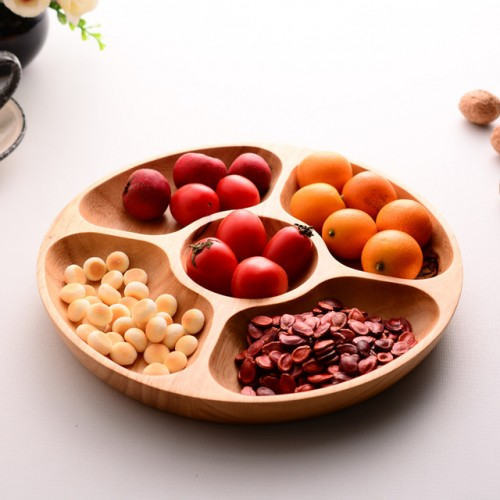 Wood Snack dish Five lattice Family fruit dessert dish Whole grains plate Unbreakable Simple home party.jpg 640x640