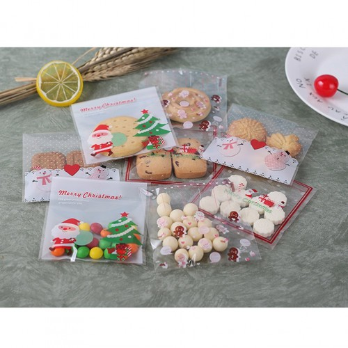 100 Pcs Candy Bags Plastic Christmas Self Adhesive Cookie Bags Biscuits Bags Packaging Bags for Christmas