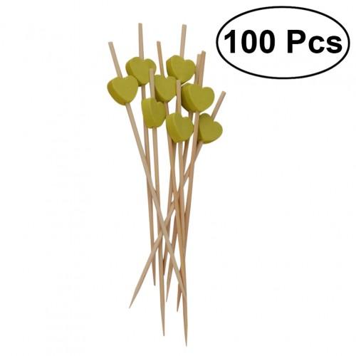 100Pcs Bamboo Fruit Picks Disposable Cocktail Toothpicks Food Sandwich Pick Sticks Party Supplies Light Green