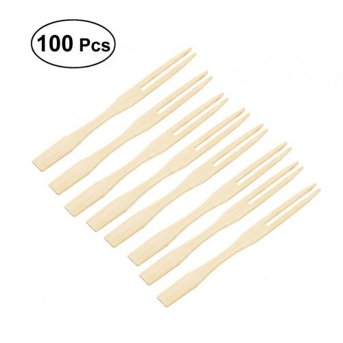 100pcs Bamboo Fruit Picks Disposable Fruit Forks Food Picks Sticks Party Supplies
