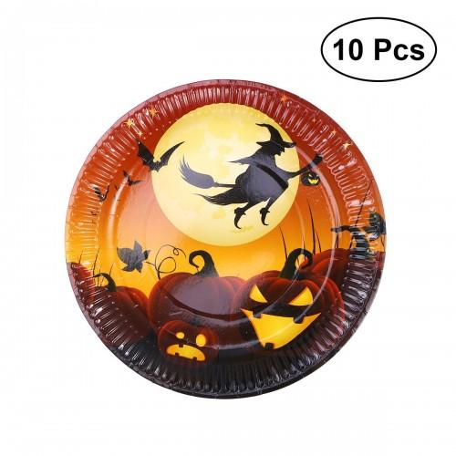 10pcs Halloween Disposable Paper Plates Decorative Food Plates to Party Festival No 1