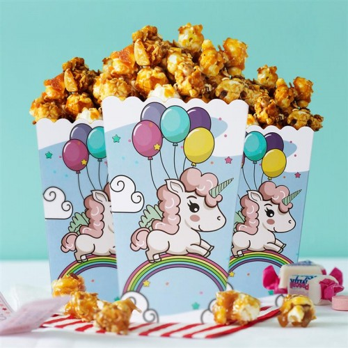 16pcs Popcorn Boxes Wrapper Bags Decorative Dinnerware for Birthday Party Baby Shower Graduations Disposable Food Containers