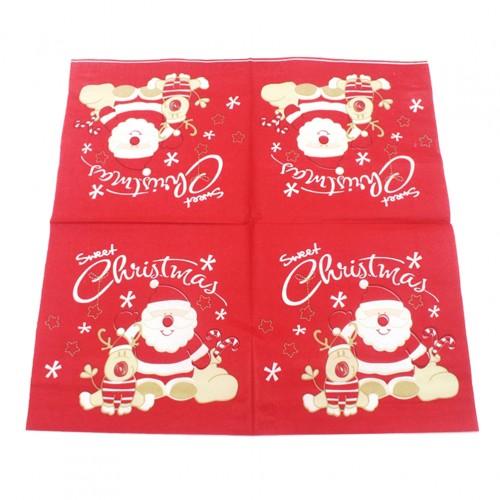 20pcs Printed Christmas Napkins Santa Claus Xmas Elk Disposable Paper Towel Paper Tissue for Children Adults