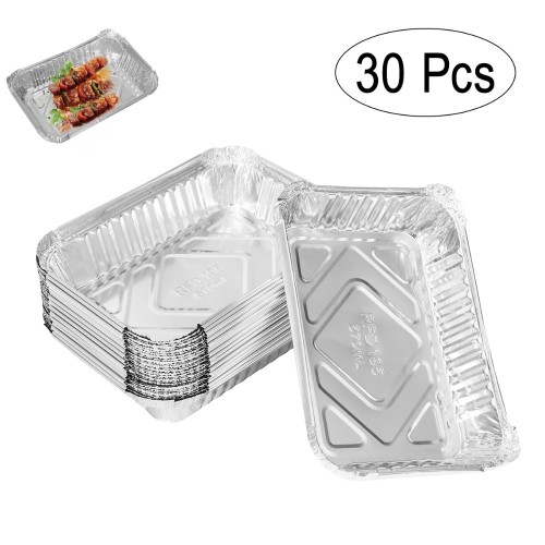 30pcs 570ml Disposable BBQ Drip Pan Tray Aluminum Foil Tin Liners for Grease Catch Pans Replacement