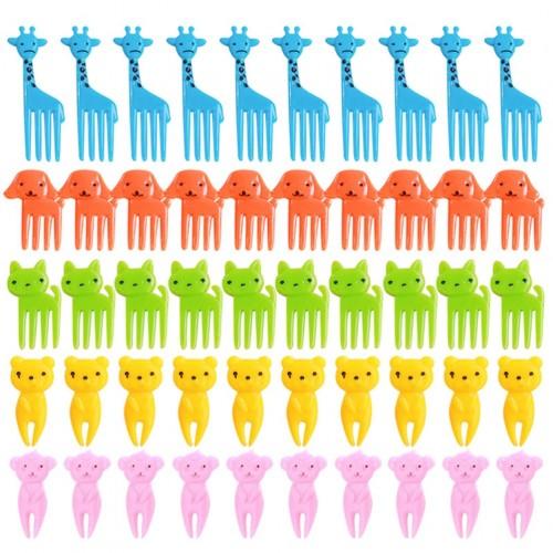 50 Pcs Mixed Fruit Forks Animal Reusable Cute Cartoon Fork Picks for Sandwich Bento Appetizer