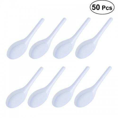 50pcs Home Kitchen Clear Plastic Disposable Soup Spoons Asian Soup Spoons White