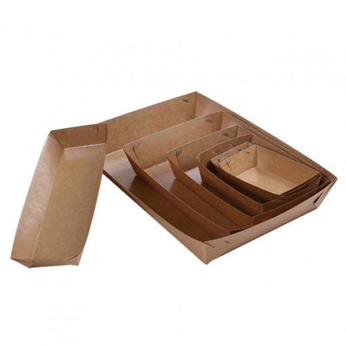 5Pcs Disposable Paper Food Serving Tray Kraft Paper Coating Boat Shape Snack Open Box French Fries