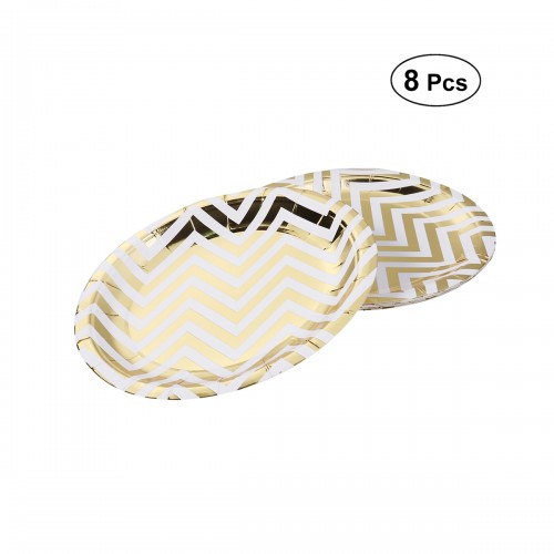 8pcs Paper Plates Golden Waves Disposable Tableware Set Party Supplies to Festival Home Party Baby Shower