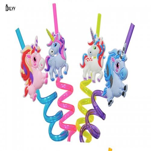 BXLYY Party Decoration Cartoon Unicorn Flamingo Animal Modeling Straw Christmas Decorations for Home Unicorn Party New