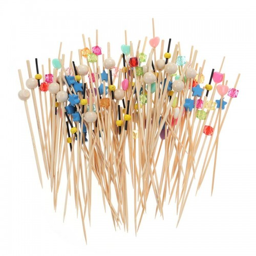 Food Picks Cocktail Fruit Appetizer Drink Sticks Disposable Wood Toothpicks Party Supplies About 100pcs Assorted Patterns