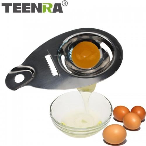 TEENRA 1Pcs Egg Yolk Separator White egg Separator Stainless Steel Egg Divider metal Cooking Gadget Kitchen