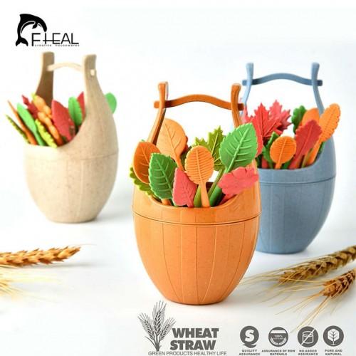 FHEAL 16pcs Green Biodegradable Wheat Straw Leaves Fruit Fork Set Party Cake Salad Vegetable Forks Picks.jpg 640x640