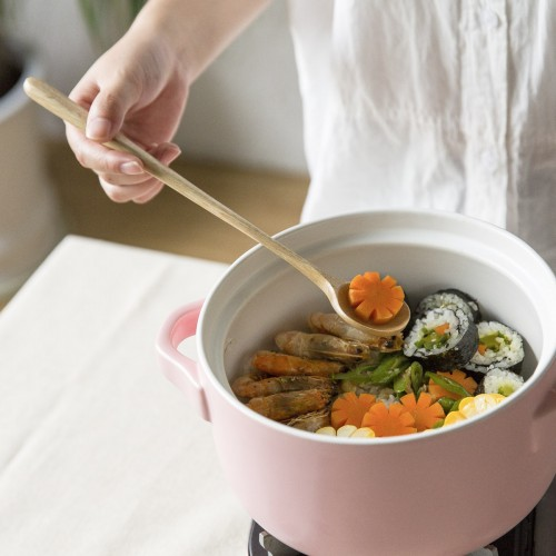 Japanese Style Long Handle Large Wooden Spoon Coffee Tea Bar Mixing Stirring Spoons Breakfast Dinner Flatware