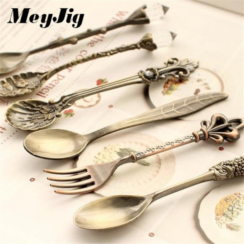 MeyJig 6pcs Set Spoon and Fork Kitchen Nostalgic Vintage Royal Style Bronze Carved Small Coffee Tea.jpg 640x640