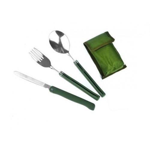 Portable 3 in 1 Outdoor Folding Knife Fork Spoon Utensil Tableware Set Family Day BBQ Travel