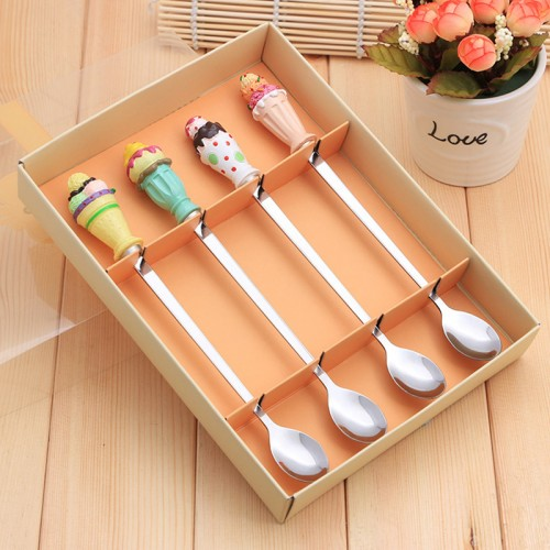 Stainless Steel Coffee Spoon Long Ice Cream Spoon Four Sets Cartoon Resin Events Wedding Gifts Tableware