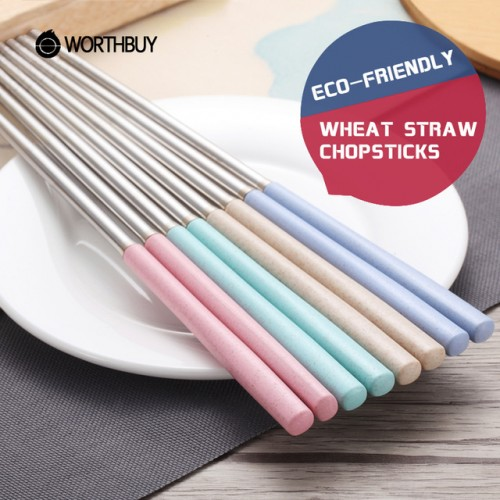 WORTHBUY 5 Pairs Set 304 Stainless Steel Chinese Chopstick Wheat Straw Handle Reusable Chopsticks For Sushi.jpg 640x640