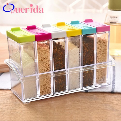 6pcs set Spice Jar Seasoning Box Plastic Condiment Bottles Sugar Salt And Pepper Shakers Jars Spices