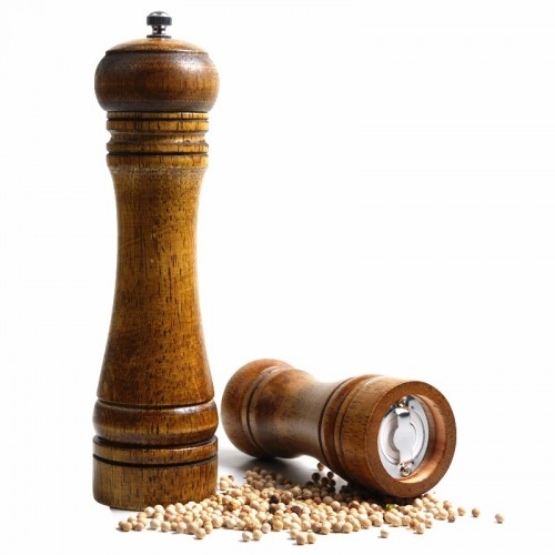 8 Inches Vintage Wooden Manual Pepper Grinder Salt And Spices Mill Kitchen Grinding Tool Ceramic Core