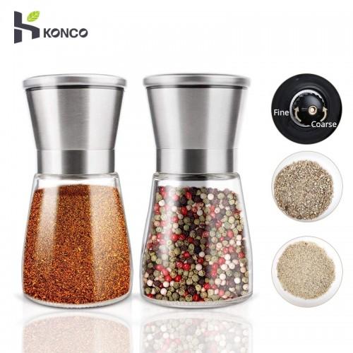 KONCO 2Pcs Salt Pepper Mill Grinder Shakers Stainless Steel Pepper Spice Mills Set with Adjustable Ceramic