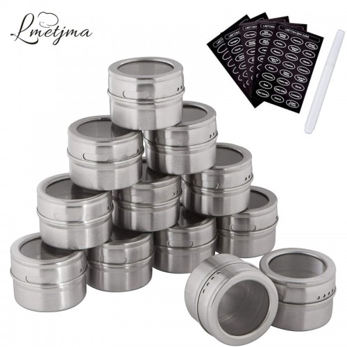 LMETJMA Magnetic Spice Jars Set With Spice Labels and Chalkboard Pen Stainless Steel Seasoning Pepper Spice