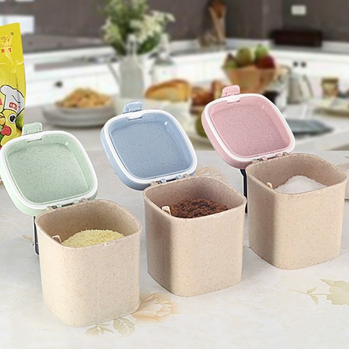 Letuzi Straw Plastic Multicolor Seasoning Pot Pepper Spice Seasoning Box Salt Sugar Aginomot Storage Box Kitchen