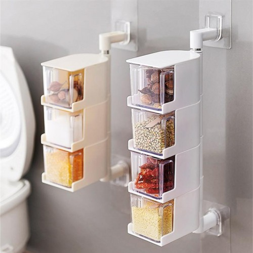 Multi Tier 360 Degree Rotating Wall Mount Spice Rack Seasoning Storage Box Jars Organizer Condiment Containers