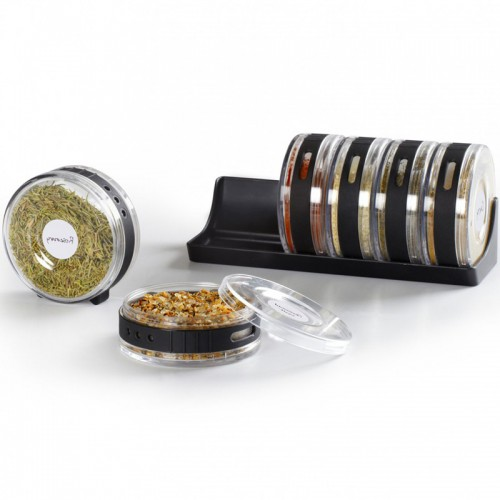 Transparent Seasoning Cans Creative 6pcs lot Roller Rotatable Condiment Bottles Pepper Shakers Box Wall Rack Spice