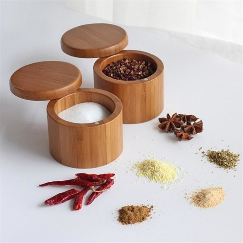 Wooden Spice Shaker Jar Sugar Salt Pepper Herbs Toothpick Storage Bottle BBQ SpiceStorage Bottle