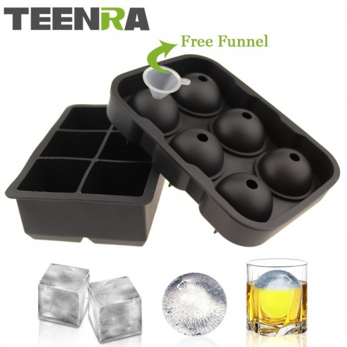 2PCS Frozen 6 Silicone Ice Ball 6 Square Ice Cube Trays Silicone Sphere Ice Mold Form