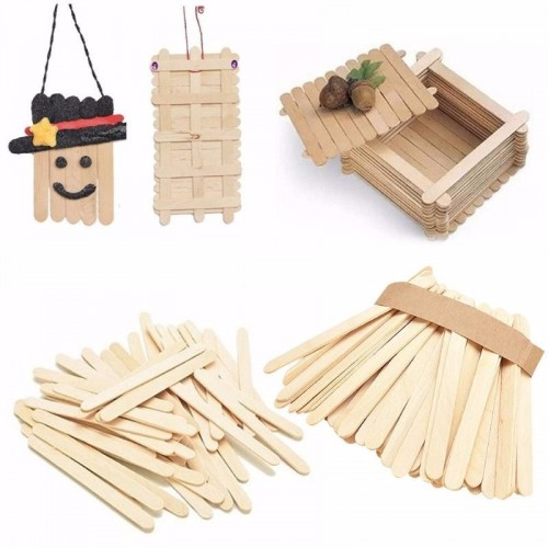 50Pcs 6color Lot Burlywood Ice lolly Stick Natural Wooden Ice Cream Sticks Kids Hand Craft Making