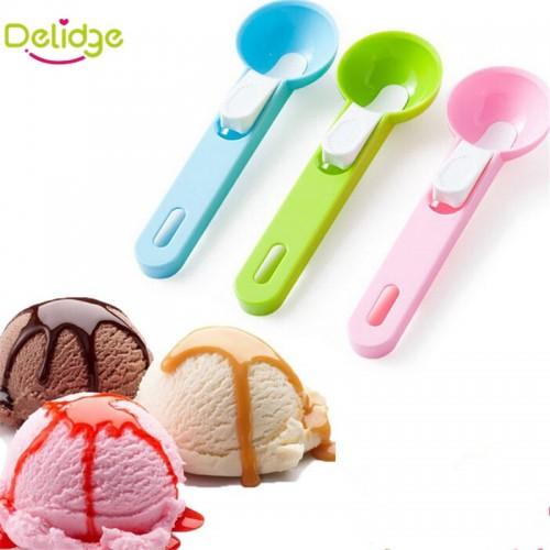 Delidge 1 pc Colorful Ice Cream Spoon Food Grade Plastic Dig Ice Cream Ball Watermelon Fruit