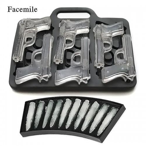 Facemile 2PCS Set DIY Ice Cube Mold Gun Bullet Shape Ice Cube Tray Fruit Ice Cream