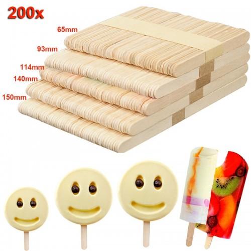 New 200pcs Wooden Ice Cream Sticks Treat Sticks Freezer Pop Sticks Wooden Sticks for Ice Cream