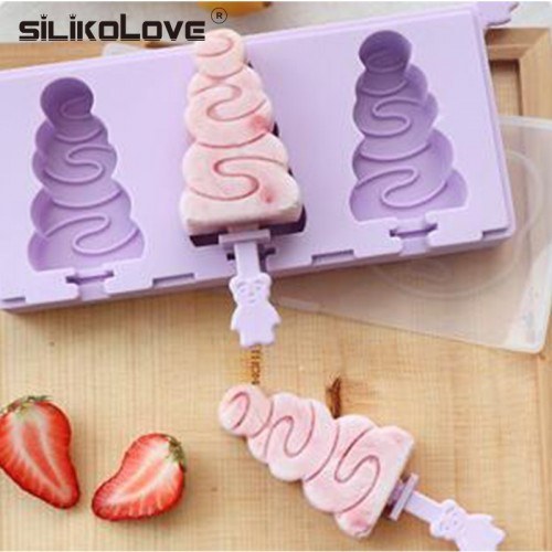 SILIKOLOVE Summer Silicone Ice Cream Mold Reusable Ice Cubes Tray Frozen Popsicle Molds Ice Cube Maker