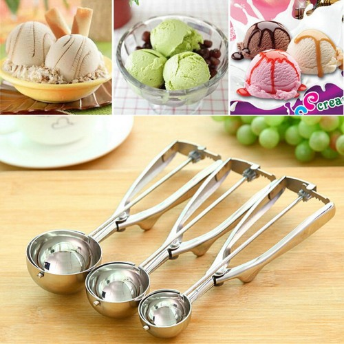 Stainless steel spoon kitchen ice cream mashed potatoes watermelon jelly yogurt cookies spring handle scoop kitchen