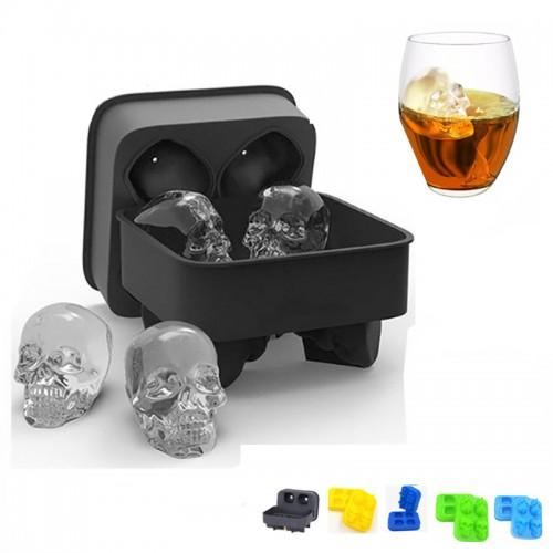 UARTER DIY 4 Cavity 3D Silicone Ice Cream Mold Maker Tray Skull Tools