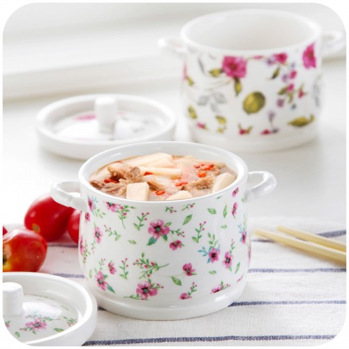 binaural impermeable ceramic soup stew home supplies with lid Nutrition bone porcelain nest stew