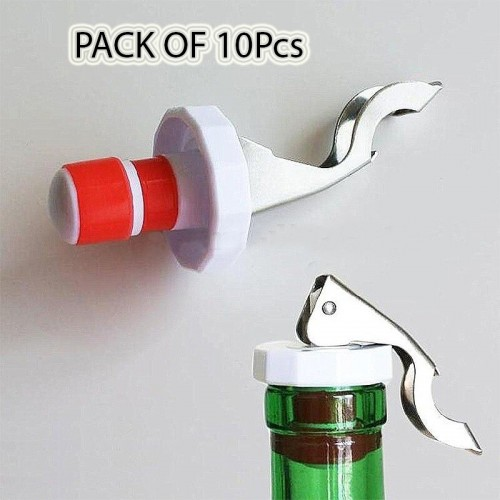 Pack Of 10 Pcs Multi-function Stainless Bottle Opener Silicone Stopper Opener Tool