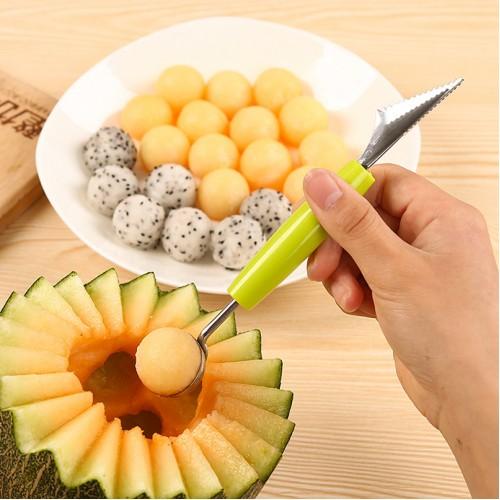 2in1 Dual head Fruit Ball Carving Knife Kiwi Fruit Waterlemon Scoop Melon Digger Fruit Jar Mashed
