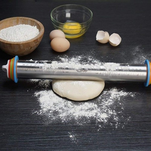 1pc Stainless Steel Rolling Pin 4 Adjustable Discs Non Stick Removable Rings Dough Dumplings Noodles Pizza.jfif