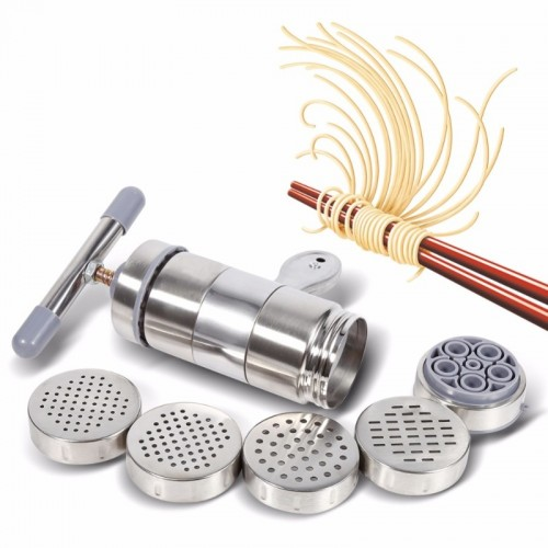 Manual Noodle Maker Press Pasta Machine Crank Cutter Fruits Juicer Cookware With 5 Pressing Moulds Making.jfif