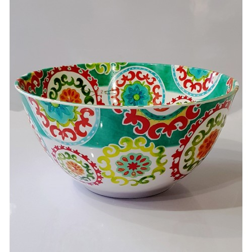 Floral Pattern Tableware Food Grade Glazed Melamine Anti Knock Big Bowl