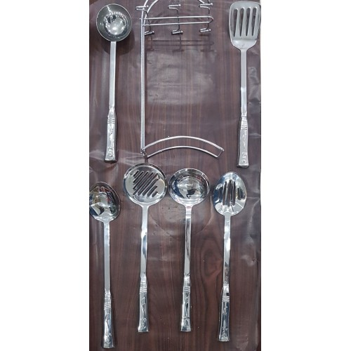 7pcs Stainless Steel Cutlery Set With Holder Stand High Quality