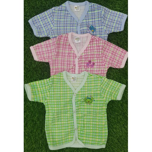 Set Of Three 100% Cotton Baby T Shirt Front Buttons Toddler Clothes Tees T-Shirt Short Sleeve High Quality