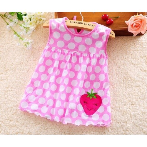 Polka Printed New Fashion Toddle Baby Girls Beach Style Party Princess Dress