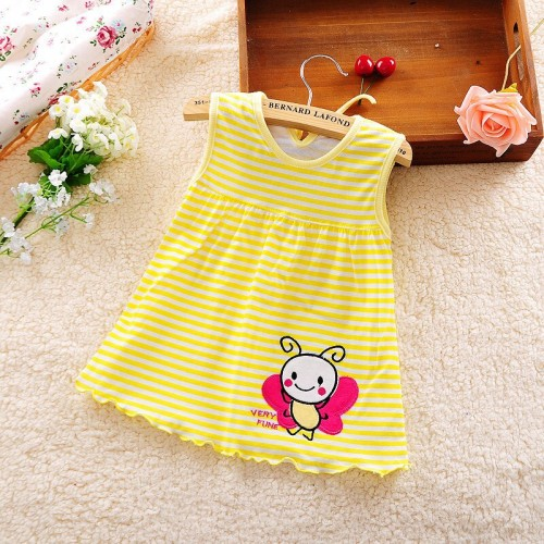 Yellow Lining Fashion Toddle Baby Girls Beach Style Printed Party Princess Dress