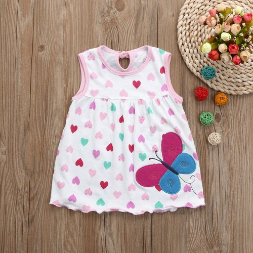 Pink Butterfly Fashion Toddle Baby Girls Beach Style Party Princess Dress