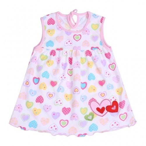 Multi Hearts New Fashion Toddler Baby Girls Beach Style Printed Princess Dress